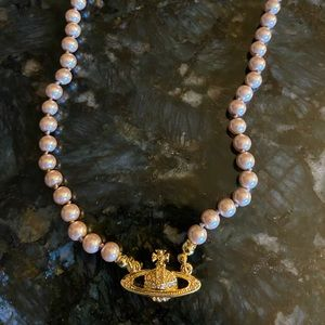 Vivienne Westwood Coffee Gold Pearl Necklace